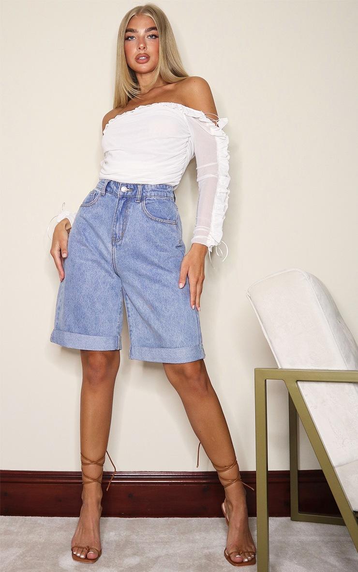 White Mesh Frill Top Edge Bardot Bodysuit 3