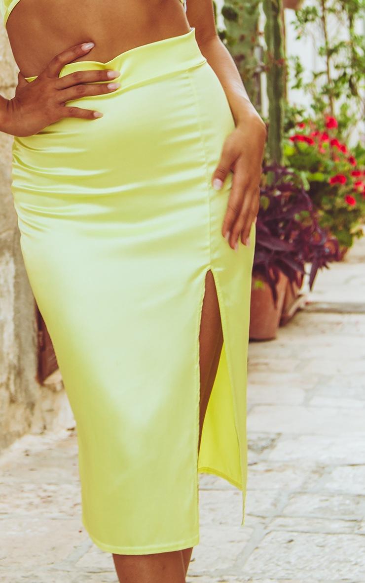 Lime Satin Slit Front Midi Skirt  5