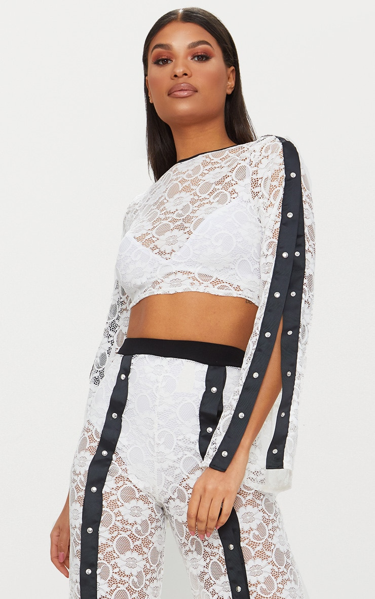 White Lace Popper High Neck Top 1