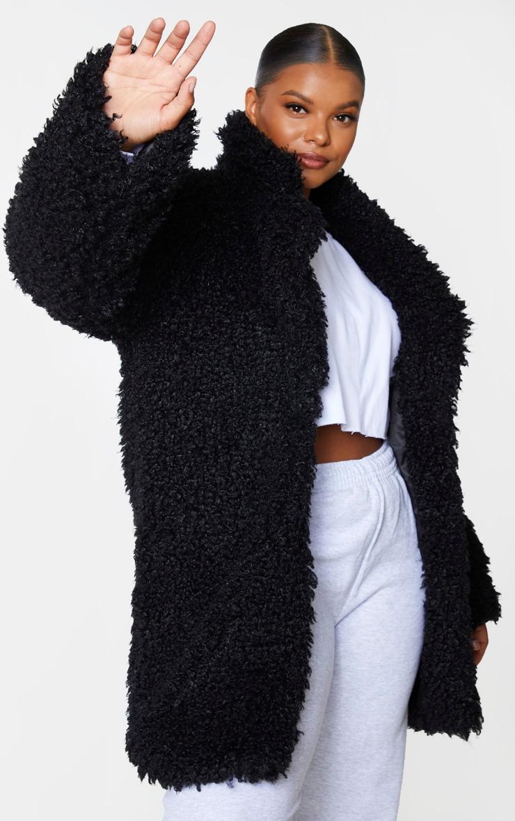 Plus Black Teddy Faux Fur Coat 3