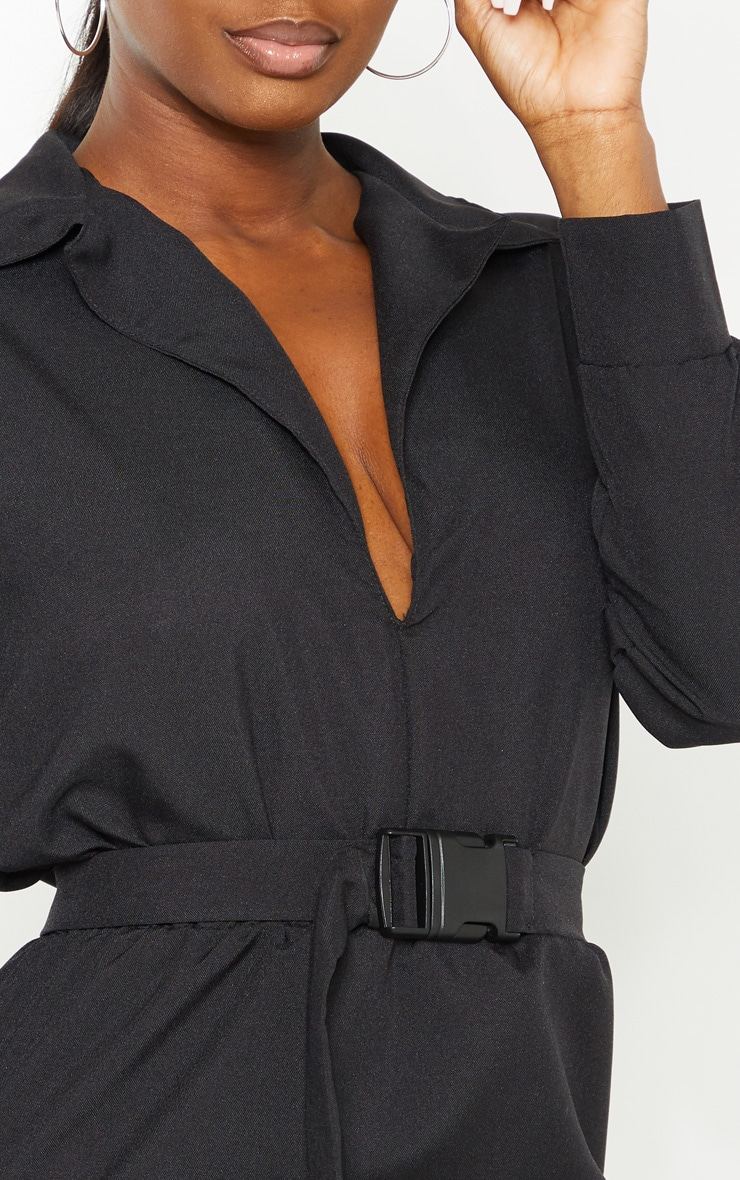 Petite Black Belt Detail Cargo Shirt Dress 4