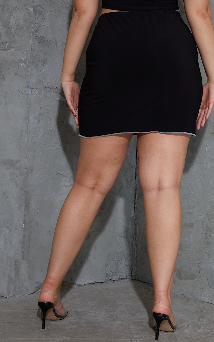Plus Black Lace Up Contrast Stitch Skirt 3