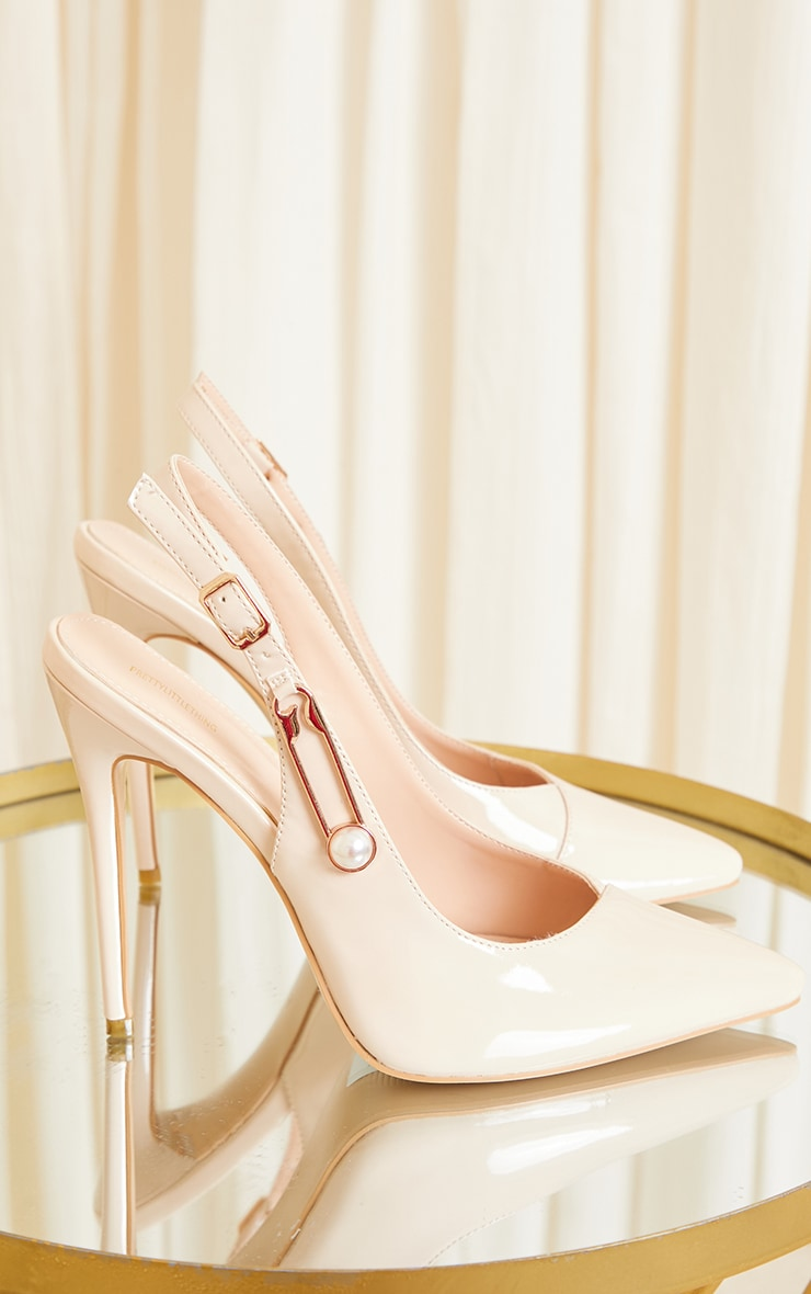 Nude Slingback Paperclip Trim Court Shoes 3