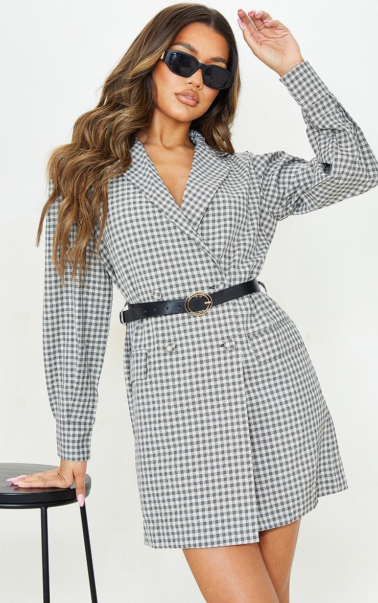 Beige Check Print Belted Blazer Dress 3