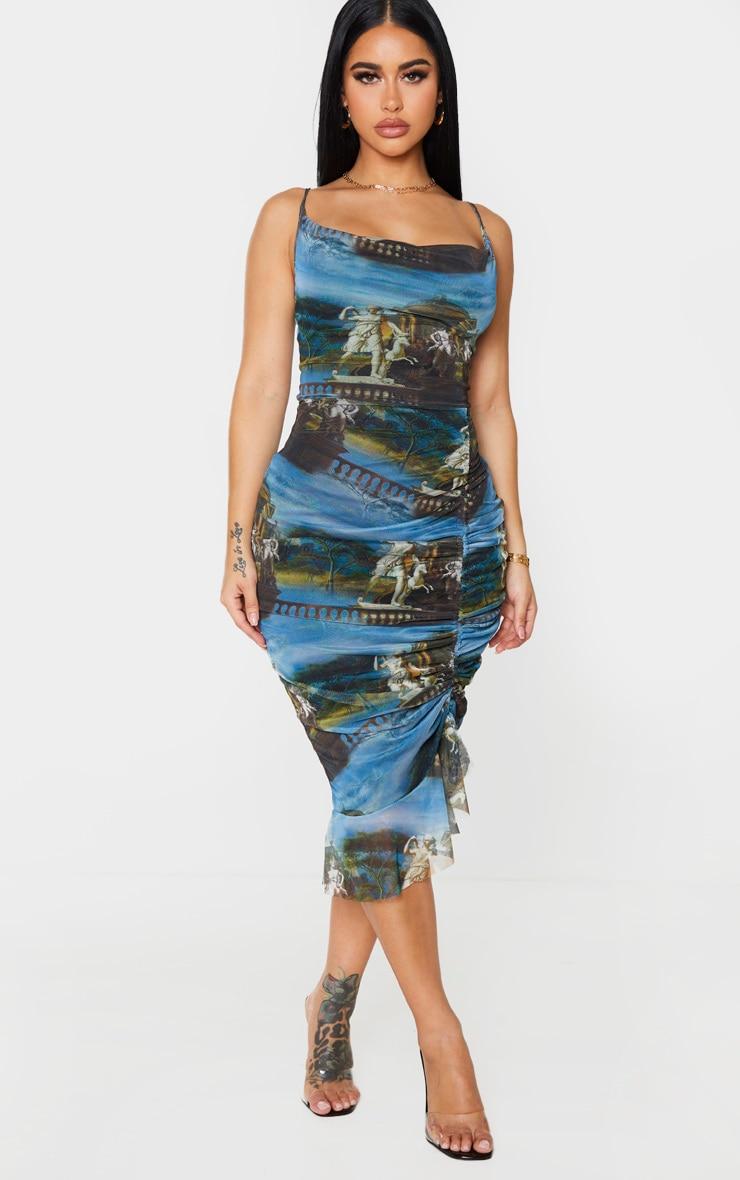 Shape Blue Renaissance Print Mesh Cowl Ruched Midi Dress 1