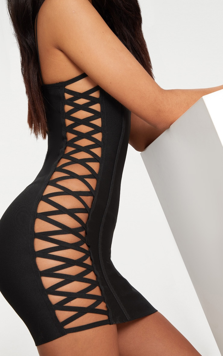 Black Bandage Lace Up Side Bodycon Dress  5