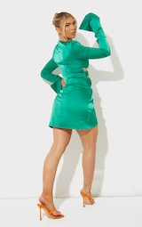 Green Satin Twisted Cut Out Oversized Cuff Bodycon Dress 2