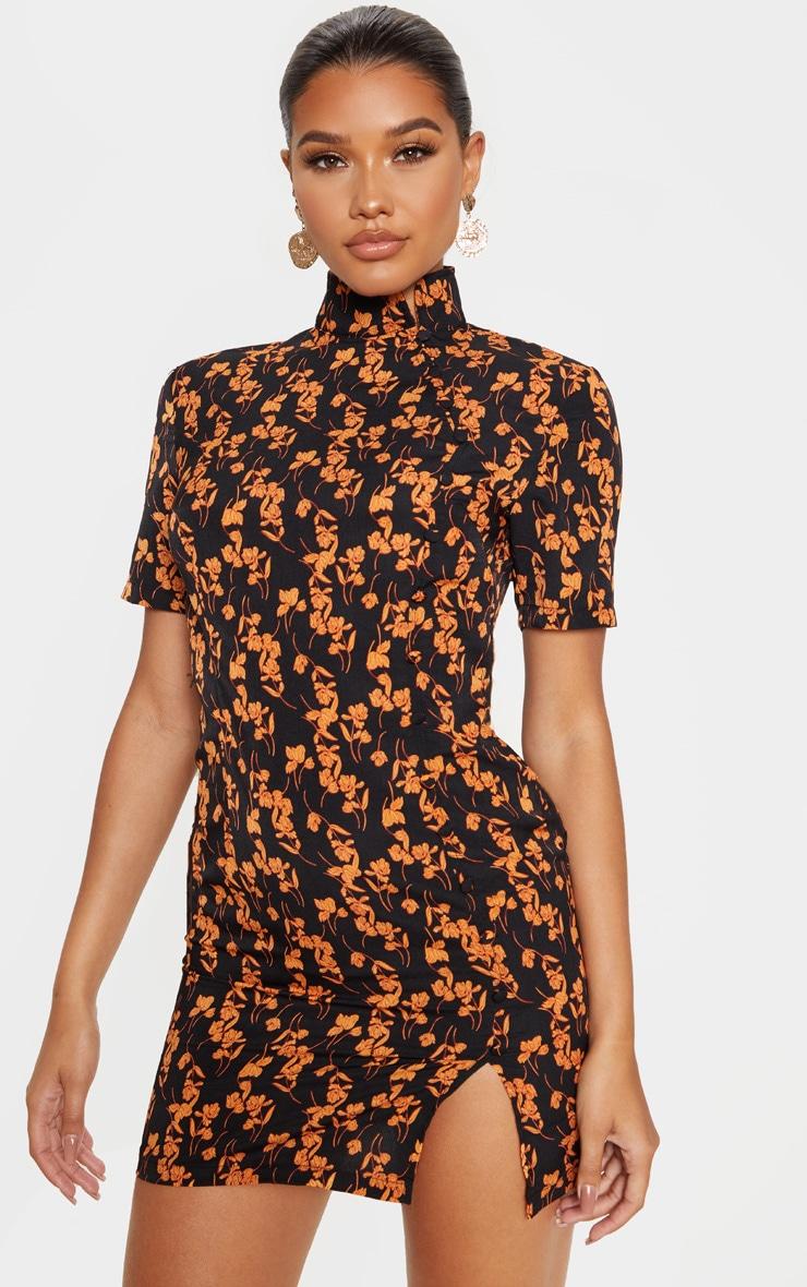 Black Satin Floral Print Button Detail Bodycon Dress 1
