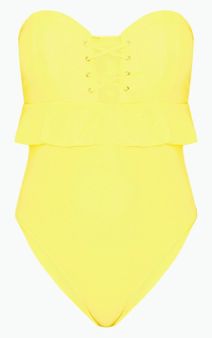 Lemon Bandeau Lace Up Frill Detail Swimsuit 3