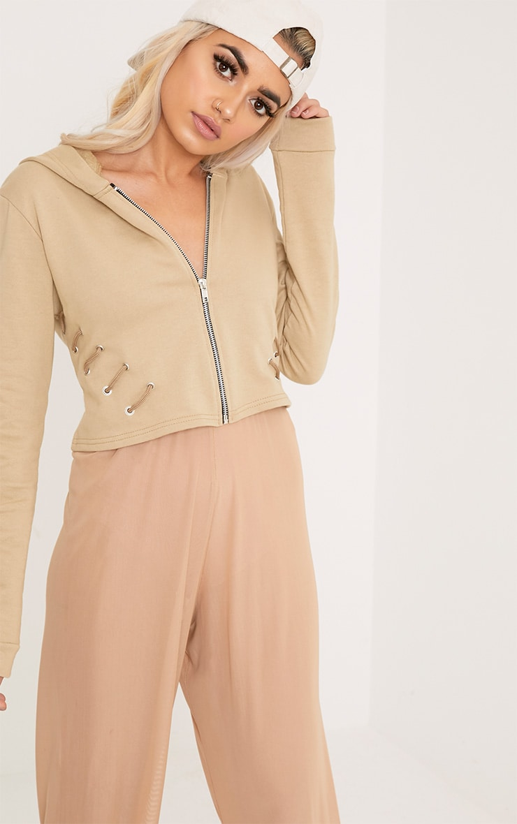 Imogen Taupe Lace Up Detail Cropped Hoodie 1