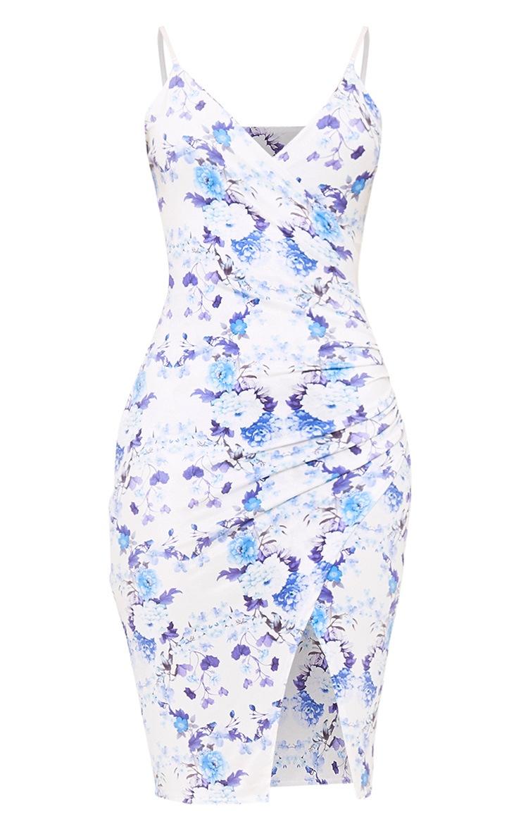 White Floral Strappy Wrap Front Midi Dress 3