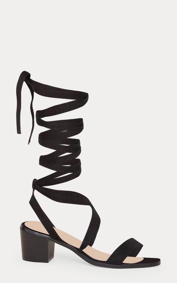 Kallia Black Faux Suede Lace Up Heeled Sandals 3