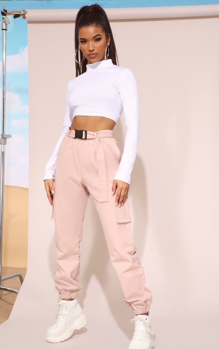Nude Utility Buckle Belt Track Pants 1