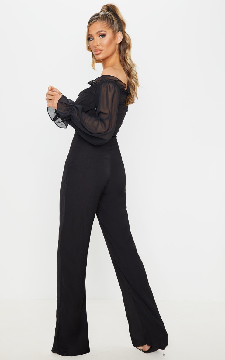 Black Lace Up Detail Chiffon Sleeves Jumpsuit 2
