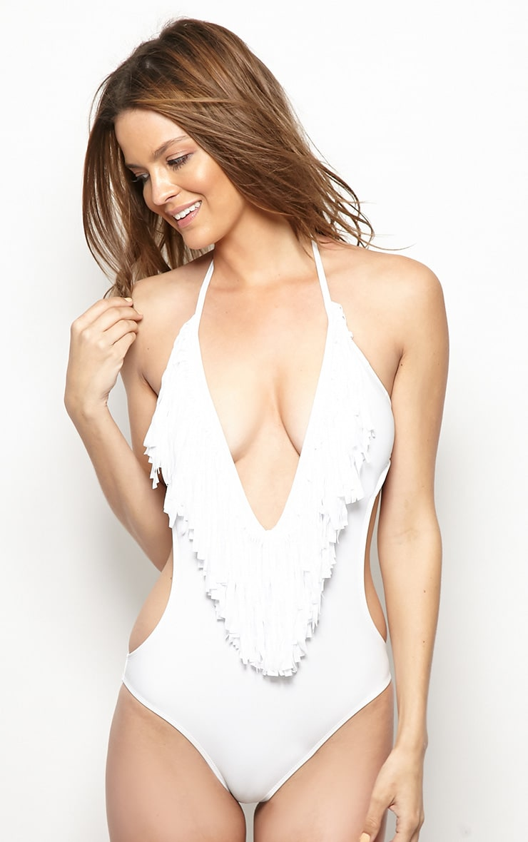 Blanca White Cut-Out Frill Swimsuit 3