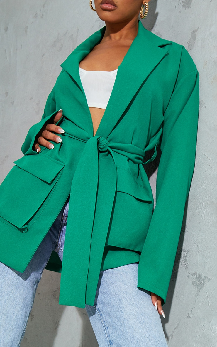 Emerald Green Woven Pocket Detail Belted Utilty Blazer 4