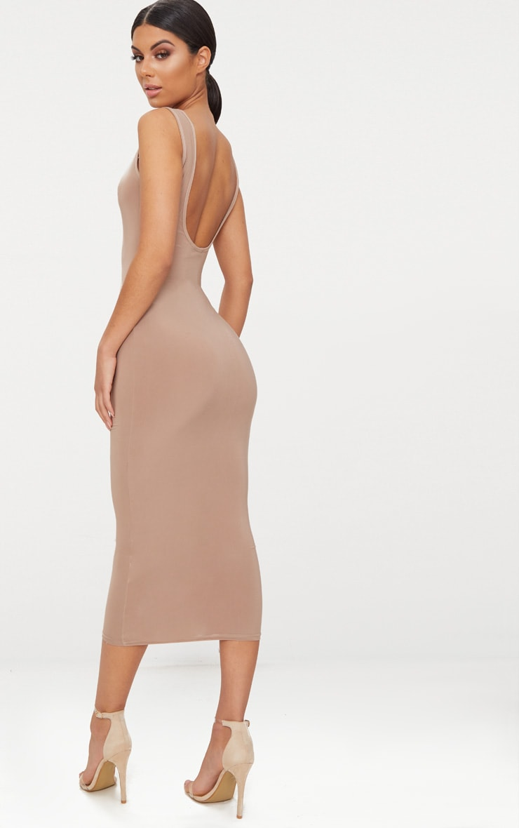 Basic Taupe Scoop Neck Low Back Midaxi Dress