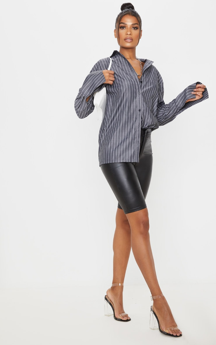 Black Pinstripe Oversized Dad Shirt 4
