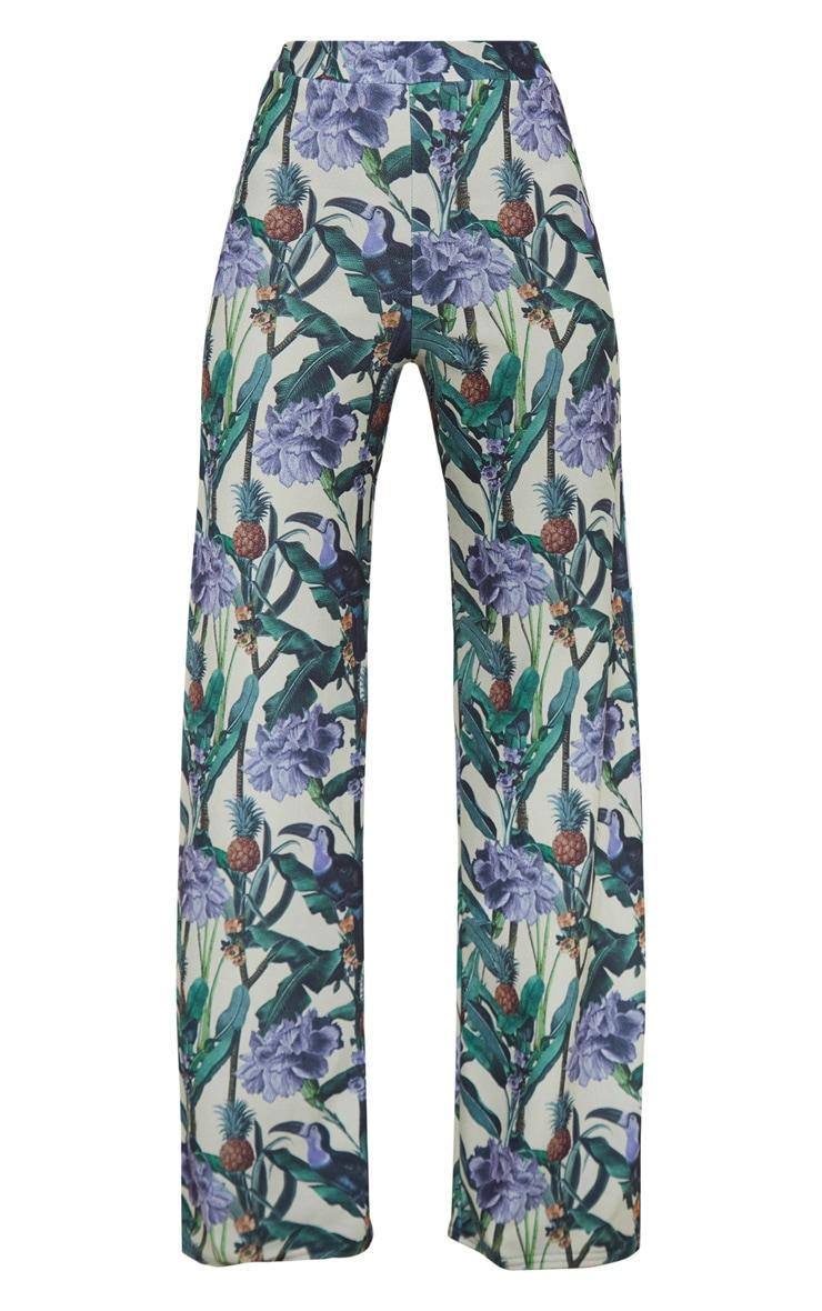 Sage Green Floral Print Wide Leg Trouser  3