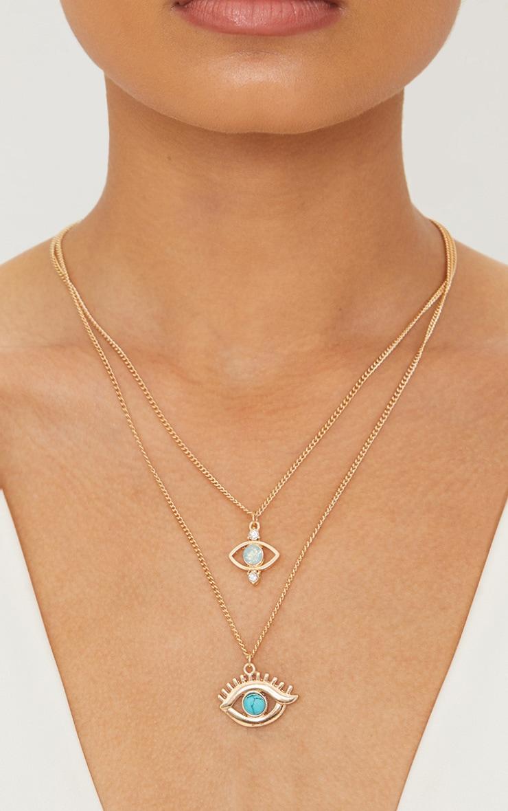 Gold Turquoise Stones Double Eye Pendant Necklace 1