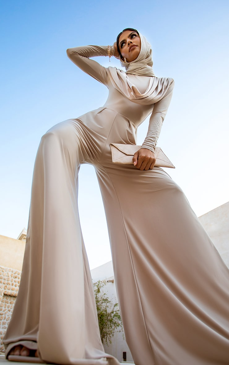 Nude Slinky Drape Detail Pleated Wide Leg Jumpsuit 2