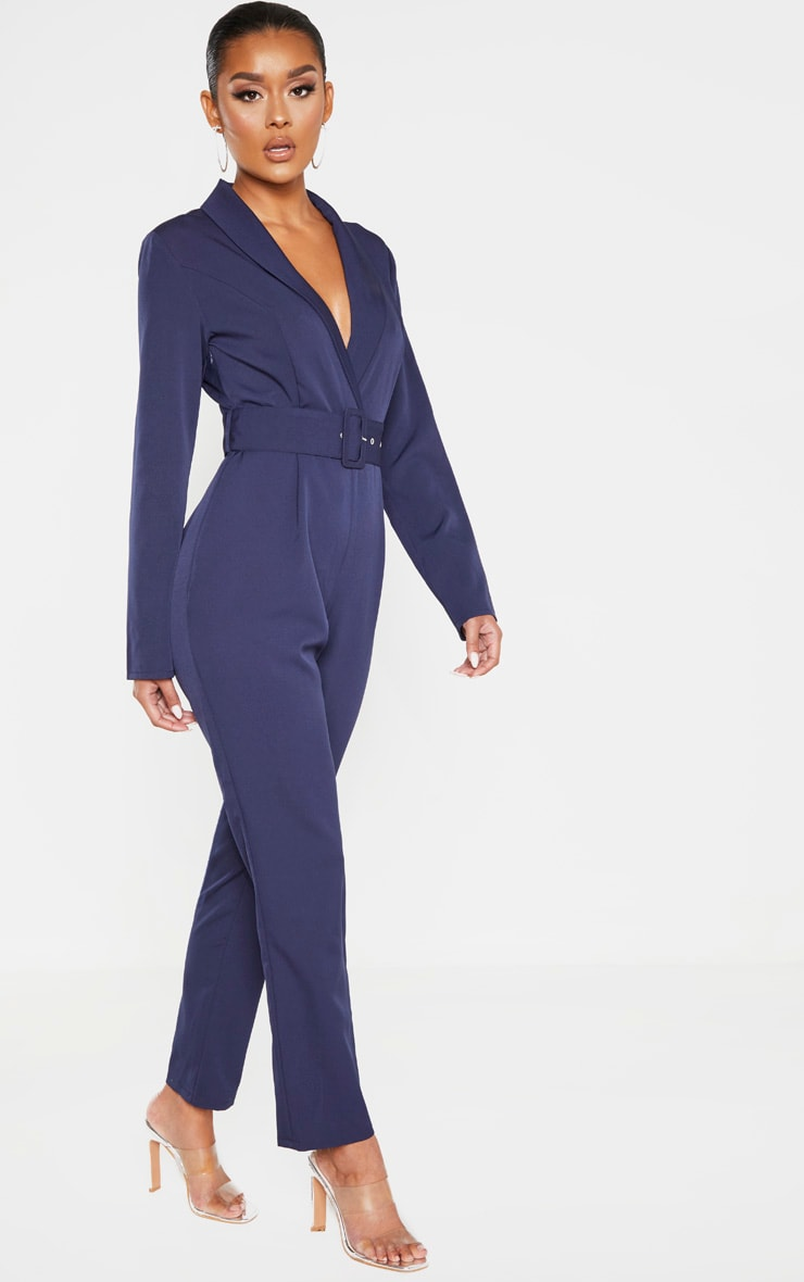Midnight Blue Lapel Detail Belted Jumpsuit 4