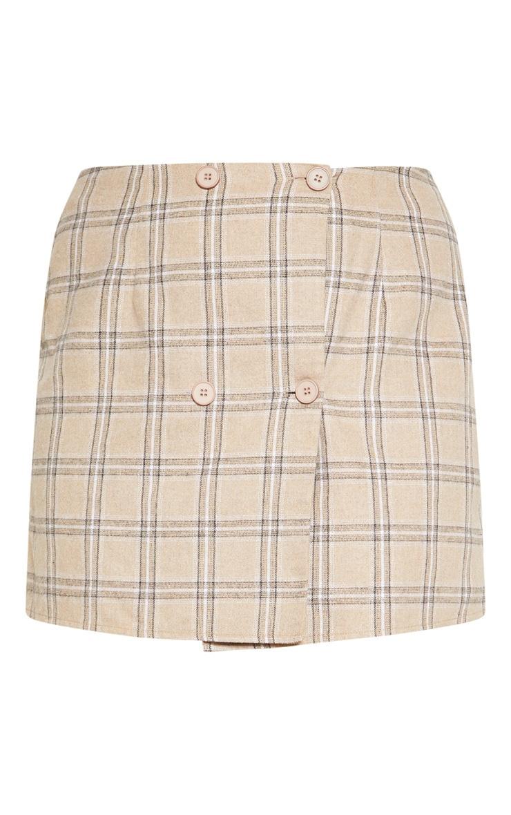 Plus Stone Check Button Detail Short Sleeve Crop Top  3
