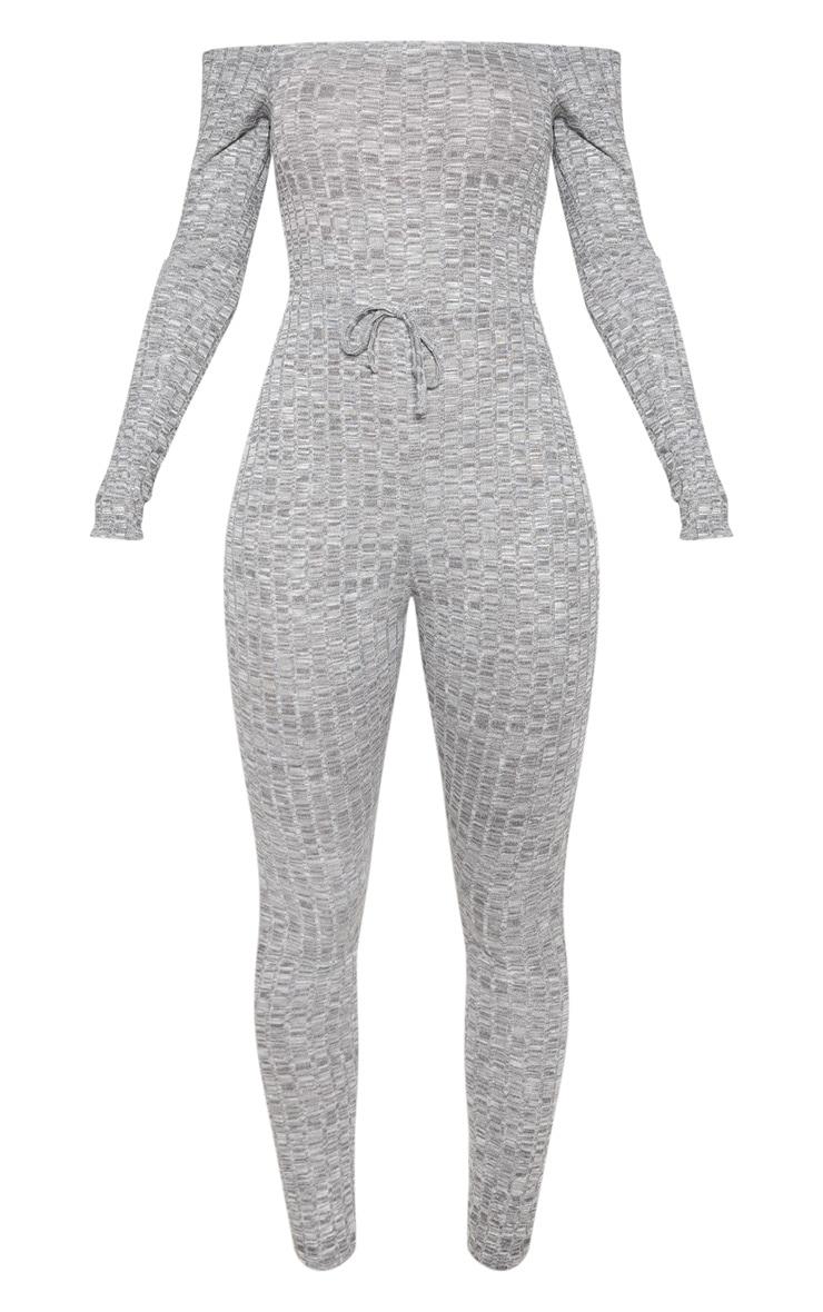 Light Grey Rib Knitted Bardot Jumpsuit 3