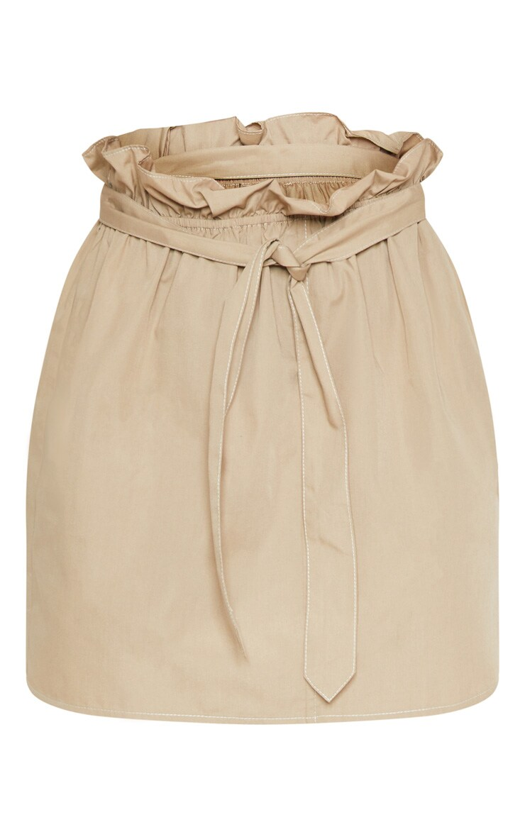 Stone Paperbag Waist Tie Front Mini Skirt 3