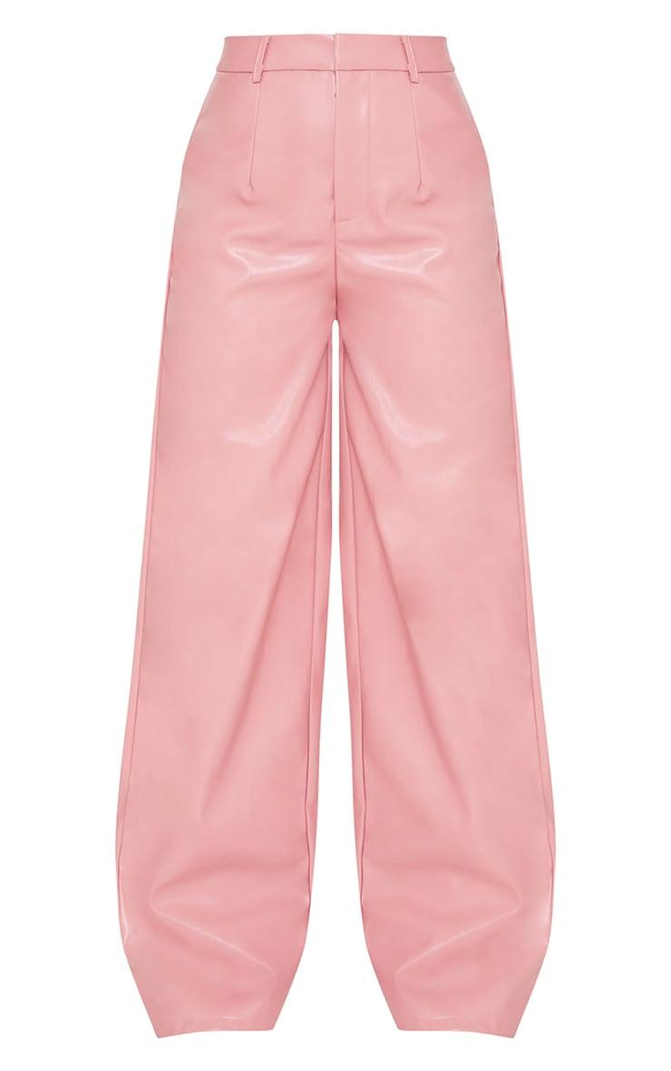 Petite Pink Faux Leather Wide Leg Pants 5