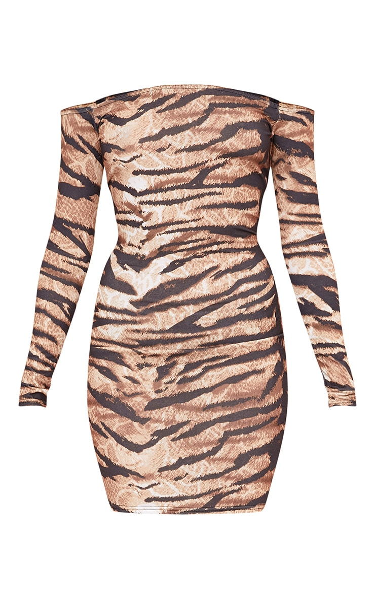 Tiger Print Brown Bardot Long Sleeve Bodycon Dress 3