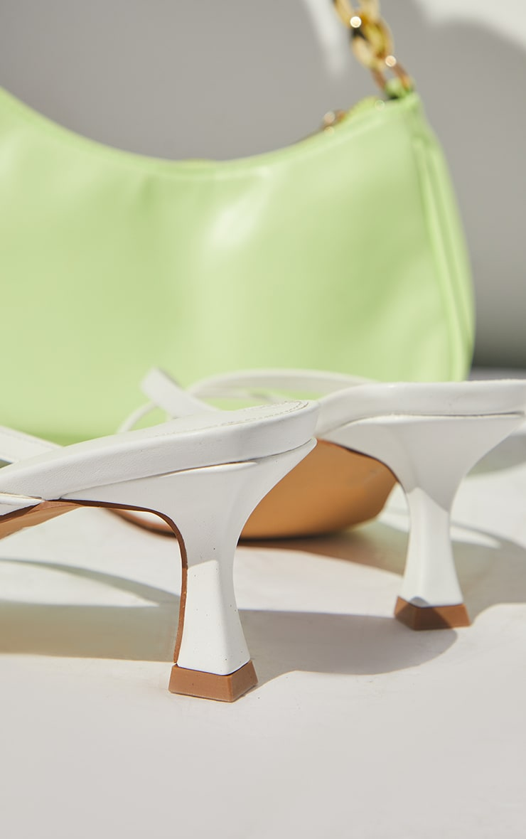 White PU Square Toe Thong Strap Low Heeled Mule Sandals 4