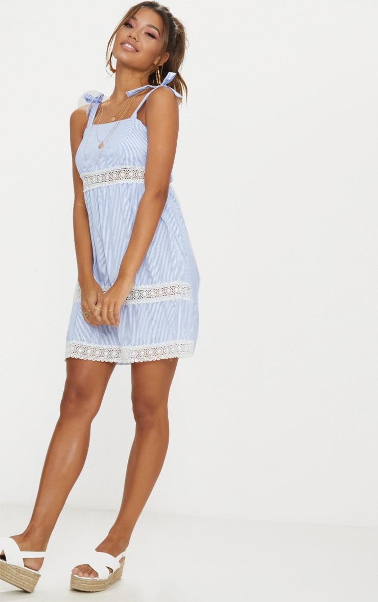 Blue Tie Strap Lace Detail Smock Dress 3