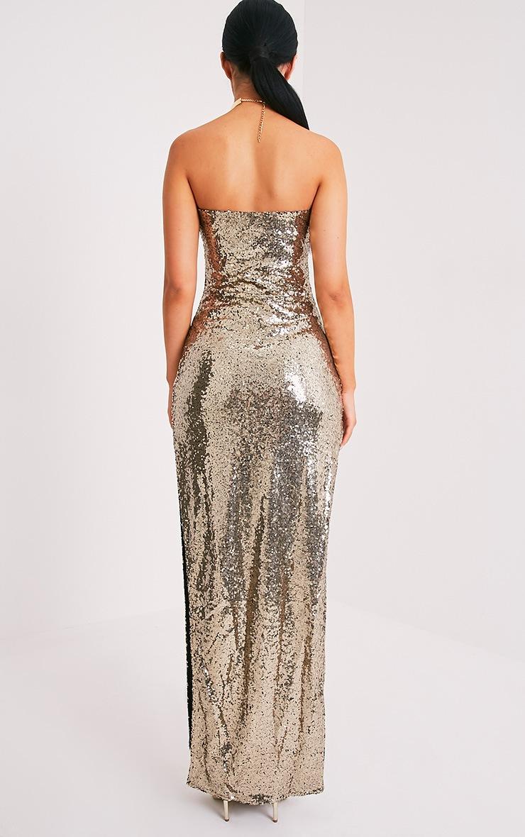Kathie Gold Bandeau Sequin Maxi Dress 2