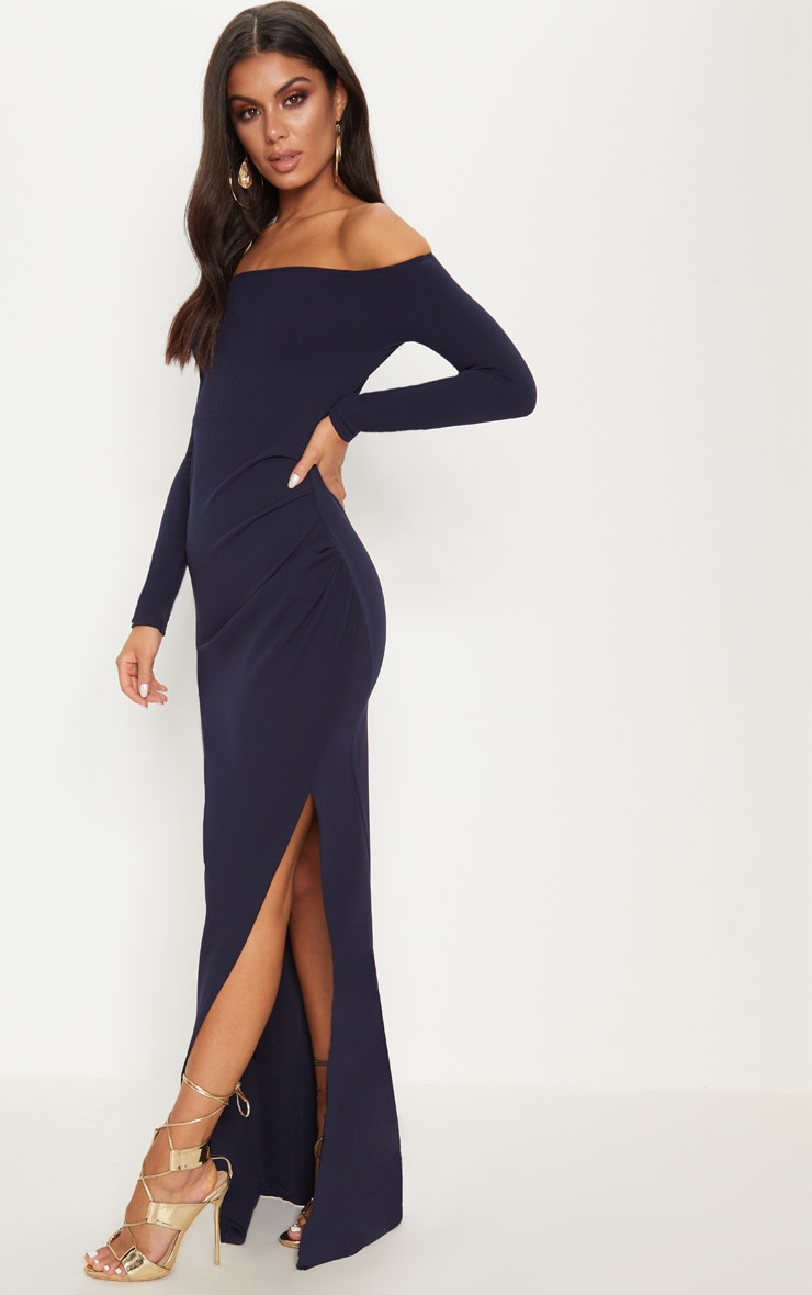 Navy Wrap Over Long Sleeve Bardot Maxi Dress 4