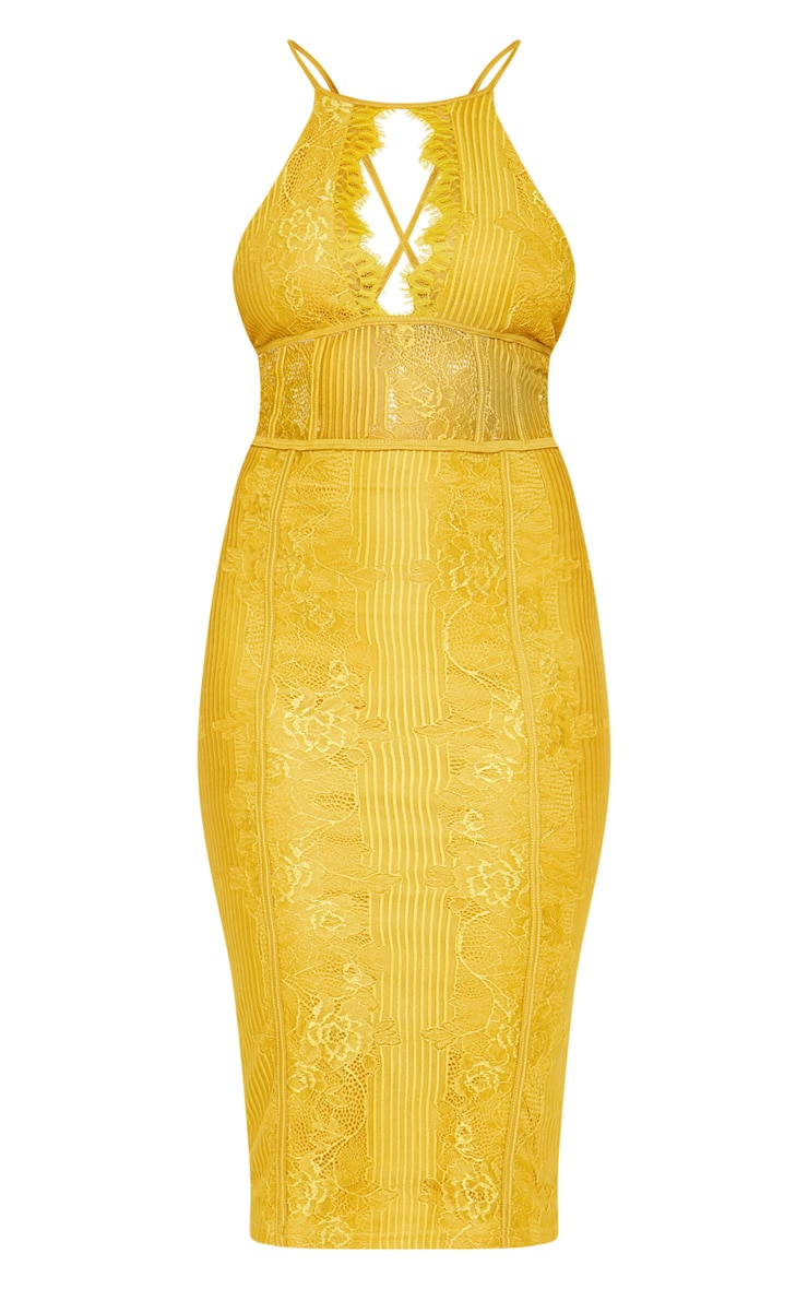 Mustard Lace Cut Out Front Cross Back Midi Dress  3