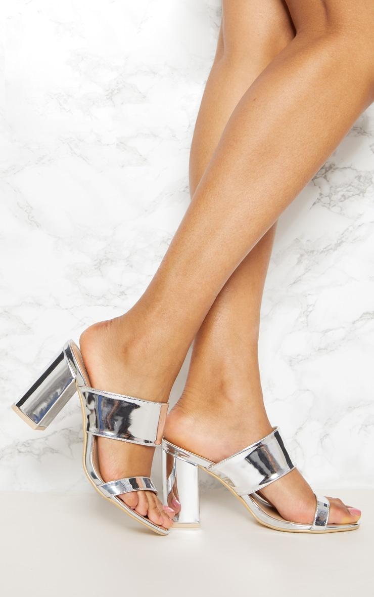 Silver Twin Strap Block Heel Sandal