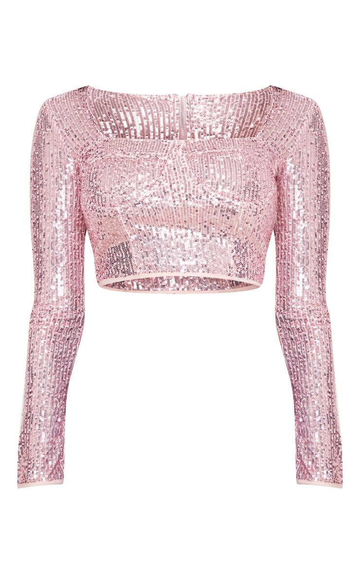 Light Pink Sequin Bust Detail Corset Top 3