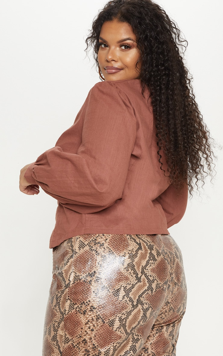 Plus Brown  Woven Button Front Puff Sleeve Top  2