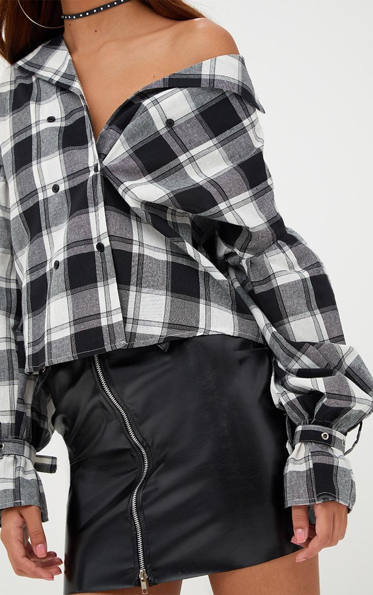 Divya Black Check Cuff Sleeve Off Shoulder Shirt 5
