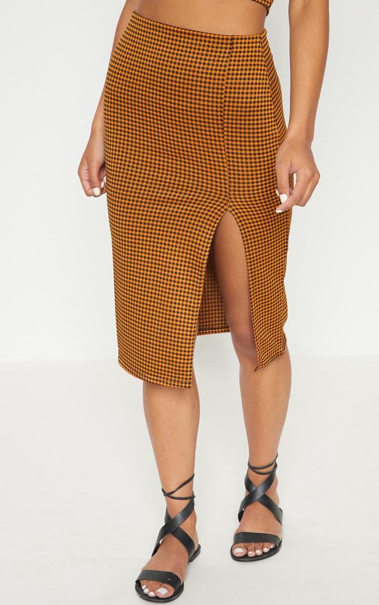 Mustard Gingham Split Detail Midi Skirt 2
