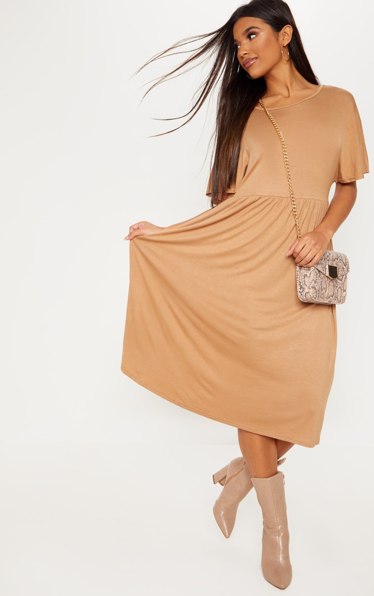 Camel Short Sleeve Midi Smock Dress 1
