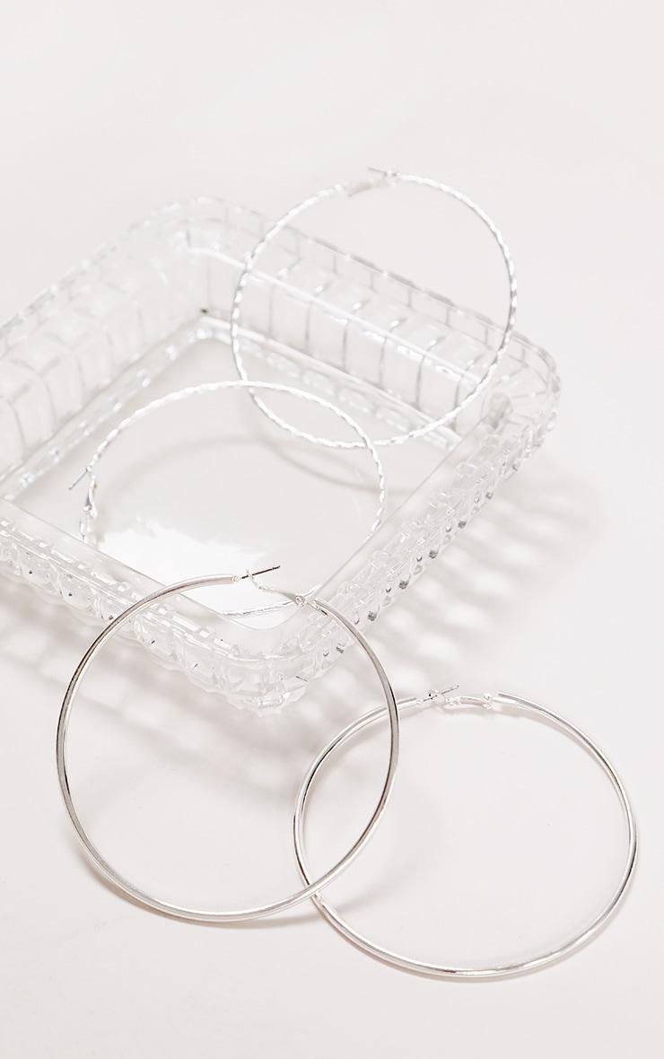 Silver Assorted Hoop Earrings 1