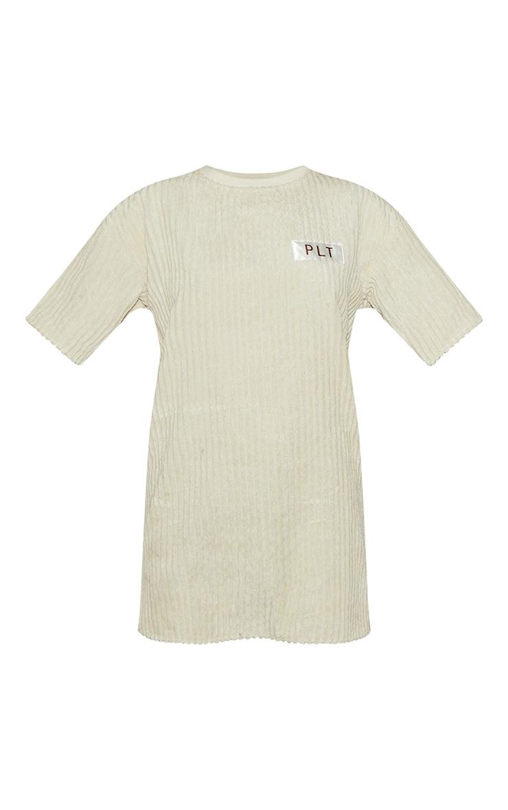 PRETTYLITTLETHING Cream Thick Cord T Shirt Dress 5