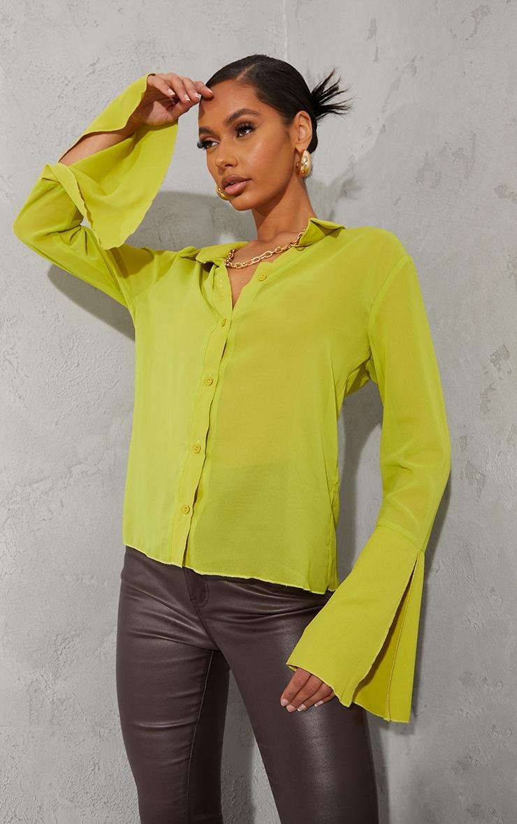 Lime Sheer Chiffon Shirt 1