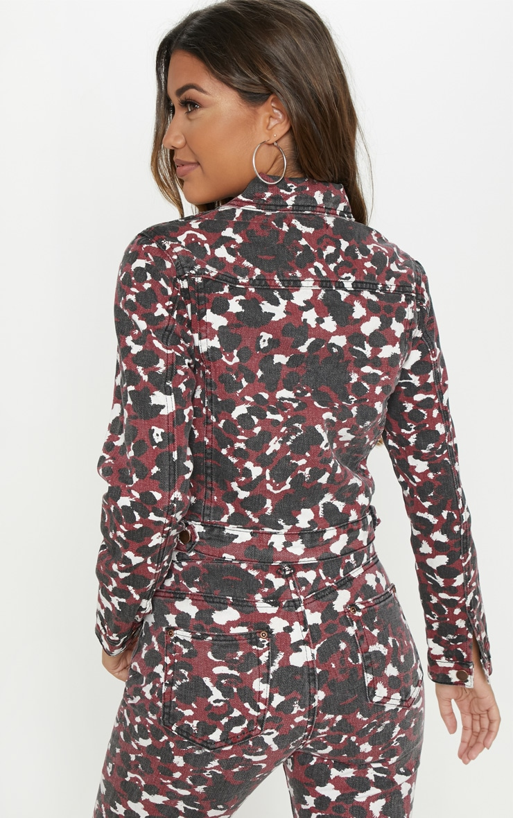 Burgundy Blurred Leopard Cropped Denim Jacket 2