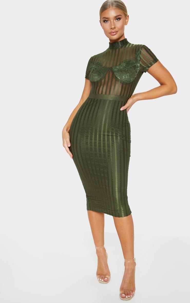 Khaki High Neck Lace Lined Midi Dress 1