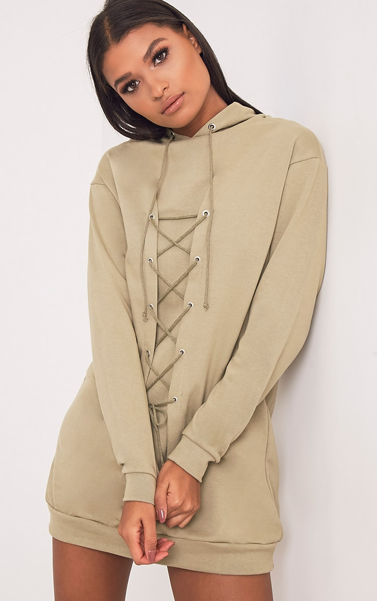 Bexie Khaki Lace Up Hooded Sweater Dress 1