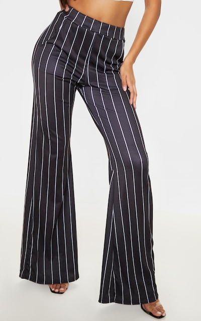 Mono Pinstripe Pocket Detail Wide Leg Trouser