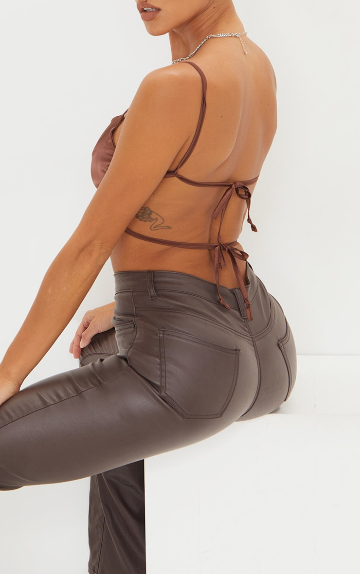 Chocolate Satin Backless Strappy Crop Top 4
